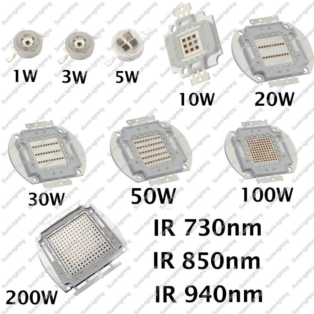 1W 3W 5W 10W 20W 30W 50W 100W 200W IR 850nm Infrared High Power LED Lamp Light Diode, Intergrated Light Source for DIY