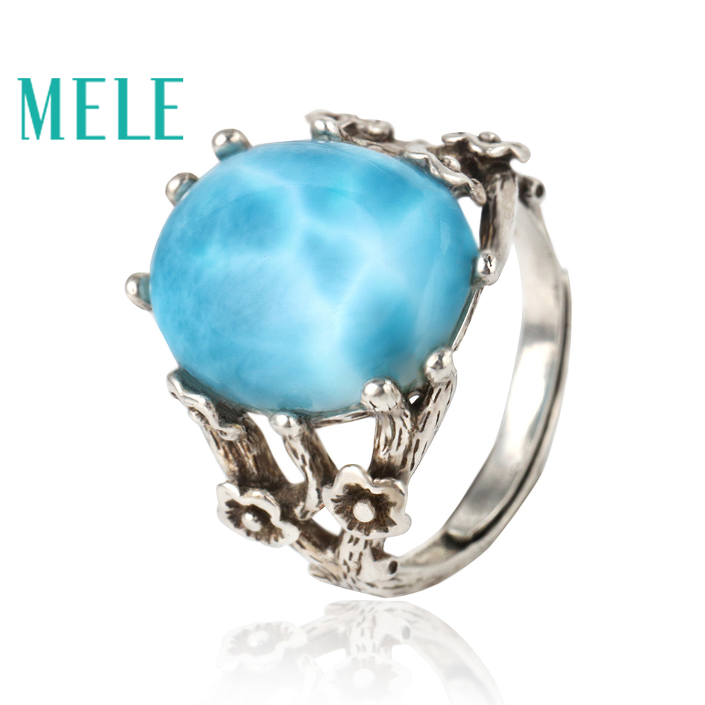Синий натуральный larimar Серебро 925 кольца для женщин, классический Овальный Ювелирные изделия с драгоценными камнями, Винтаж Стиль