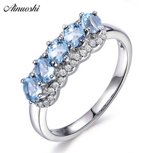 AINUOSHI Genuine 925 Silver Sky Blue Topaz Ring 1.25 Carat Oval Cut Gemstone bague Women Engagement Wedding Anniversary Jewelry
