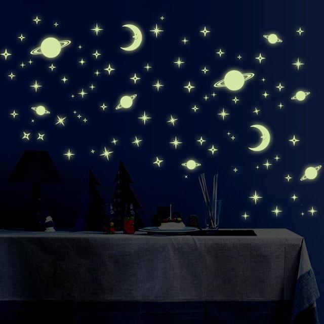 Fundecor Diy Universum Sterne Glow In The Dark Wand Aufkleber Für