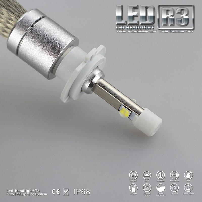 1set R3 H7 9600lm White 6000K Car LED Headlight Conversion Lamp Kit XHP-50 Chips No Fan LED Headlight yumseen super bright 9600lm h1 xenon white 6000k car led headlight conversion kit lamp cree xhp 50 4800lm bulb 1 years warranty