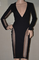 High Quality HL Black Lace V Neck Long Sleeve 2 Pieces Bandage Dress Sexy Bodycon Dress