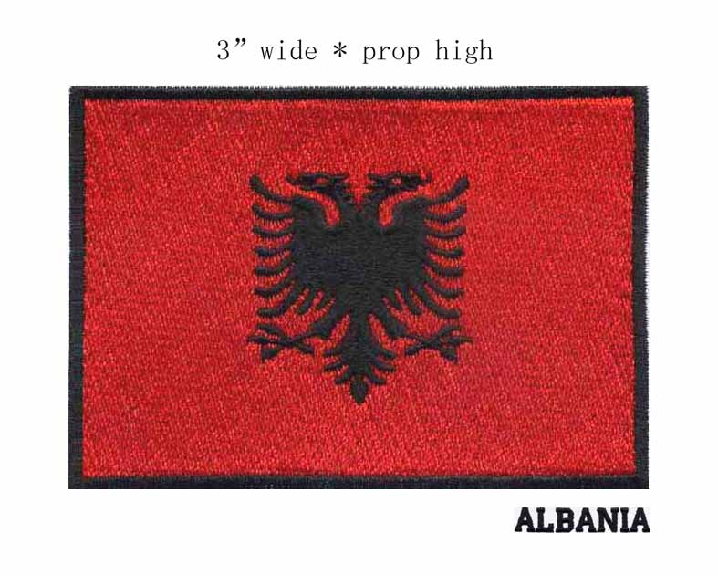 3 wide Albania embroidery flag patch black border free shipping iron on backing custom embroidered