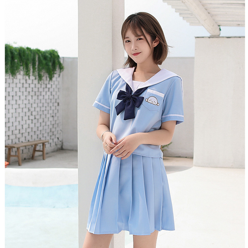 UPHYD Sky Blue Lolita Teenage Schoolgirl Short Or Long Sleeve Japanese Girl School Uniform Lovely Dolphin Images S-2XL
