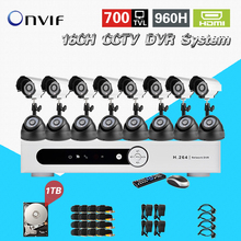 TEATE 16ch Network DVR Video Surveillance System kit 16channel cctv Camera 700TVL IR home security system with 1TB HDD CK-251