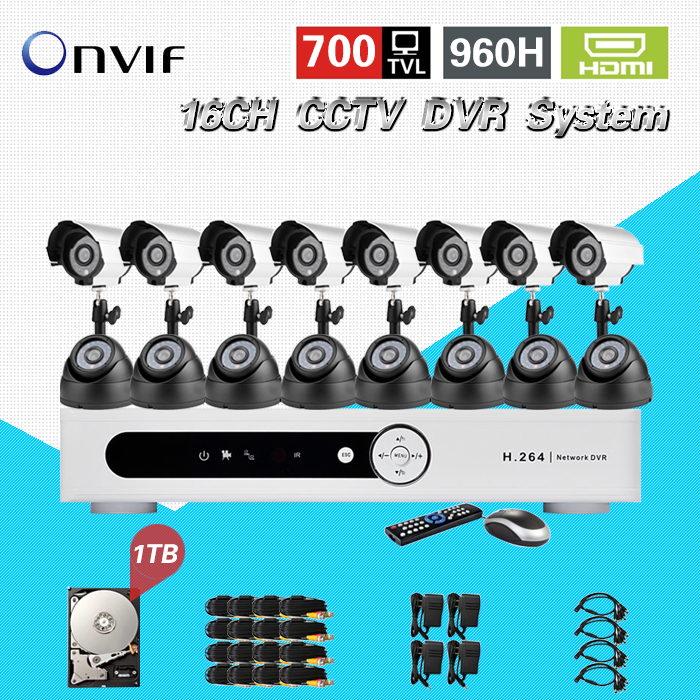 TEATE 16ch Network DVR Video Surveillance System kit 16channel cctv Camera 700TVL IR home security system with 1TB HDD CK-251 zosi 1080p 8ch tvi dvr with 8x 1080p hd outdoor home security video surveillance camera system 2tb hard drive white