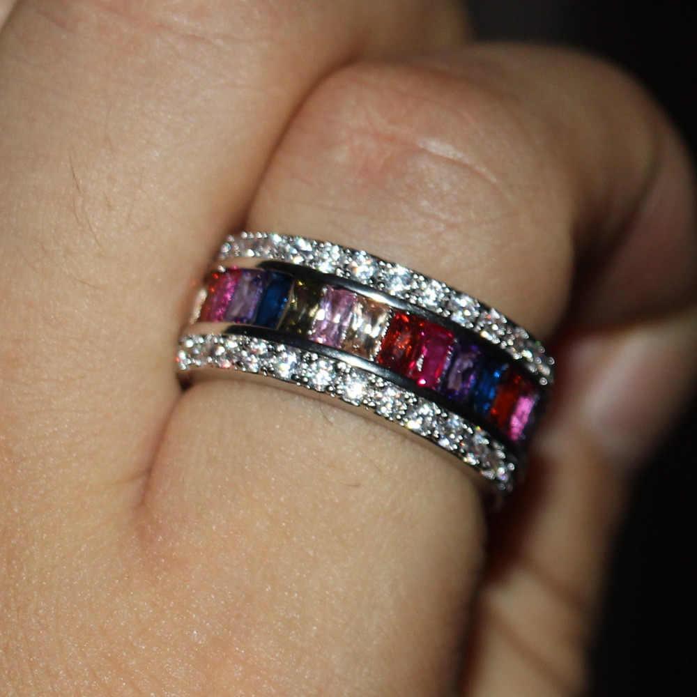 Размер 5-11 античные ювелирные изделия Потрясающие 925 серебро принцесса choucong AAA CZ камни Свадебные обручальные женские кольца браслет подарок матери