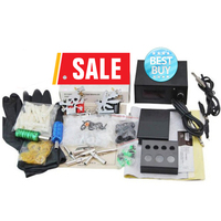 Tattoo Complete Tattoo Kit Power Supply Foot Pedal 2 Alloy Grips Accessories Coil Tattoo Machine Needle