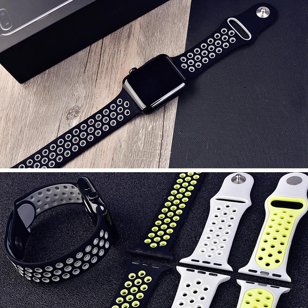 sport silicone strap for apple watch band 4 42mm 38mm 44mm 40mm iwatch belt 3 2 1 bracelet rubber watchband Accessories in Watchbands from Watches