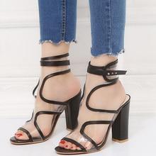 Women Sandal Solid Buckles Thick High Heel Transparent PVC Sandal
