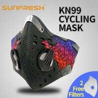 Atemschutz mit 4 Carbon N99 Filter für Verschmutzung Pollen Allergie Holzbearbeitung Laufende Waschbar Neopren Halbe Gesicht mund Maske