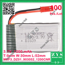 100pcs. Embalagem De Segurança Conector 2pin 3.7 V bateria de Polímero de lítio 903052 1200 mah para UAS UAV Drone Zona mini zangão fpv 9x30x52mm