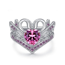 Fashion Swan Loving Heart Shaped Crystal Ring Wedding Couple Rings