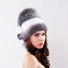 Девушка зима меховая шапка трикотажные рекс кролика hat для женщин silver fox мех корона крышек beanies 2016 новый меховой моды caps
