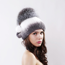 girl  winter fur hat knitted rex rabbit fur hat for women silver fox fur crown beanies caps 2016 brand new fashion fur caps