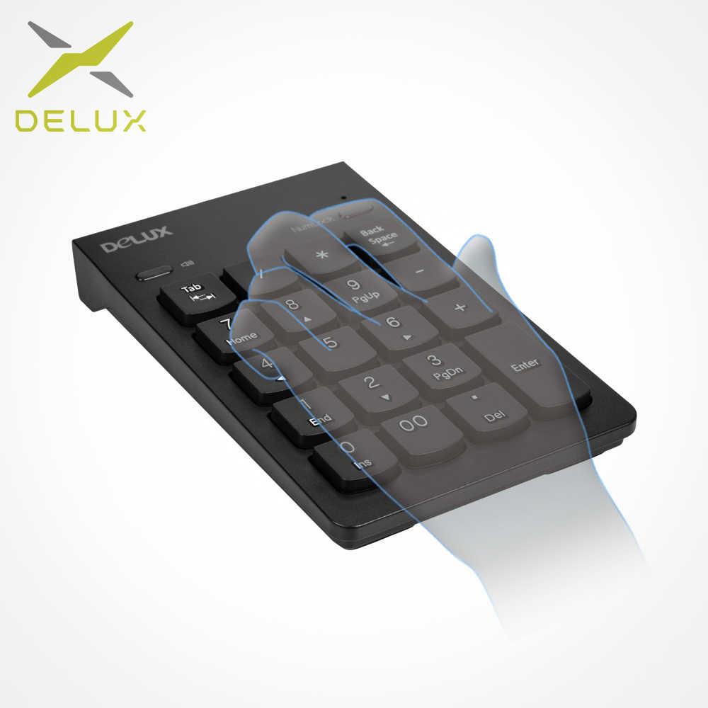 Delux K300 Kabel Keypad Numerik M618X DPI 4000 Nirkabel Ddjustable PC Vertikal Mouse Mouse Keyboard Combo untuk Komputer Laptop