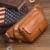 2017 Nuevos Hombres de Cuero Genuino Del Zurriago de La Vendimia de Viaje Celular/Móvil Sling Pecho Cinturón Hip Bum Bolsa Riñonera Cintura bolso Monedero