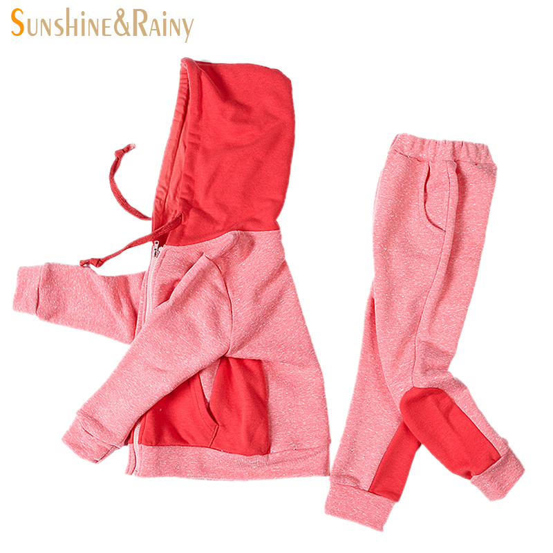 New Kids Sports Sets Children Clothing For Girls Winter Fashion Thick Hooded Sweatshirt+Pants 2Pcs Suit Baby Girls Clothing Sets