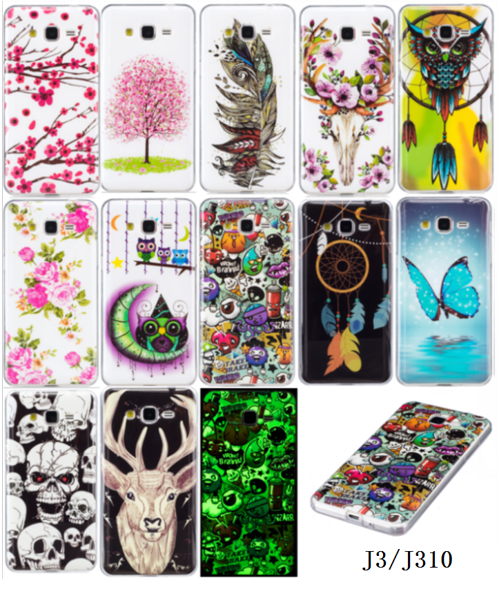 Galleria fotografica Luminous Phone Cases For SAMSUNG Galaxy J3 6 (2016) SM-J320F J320H J320F/DS Soft TPU Silicon IMD Glossy Back Covers Art Patterns