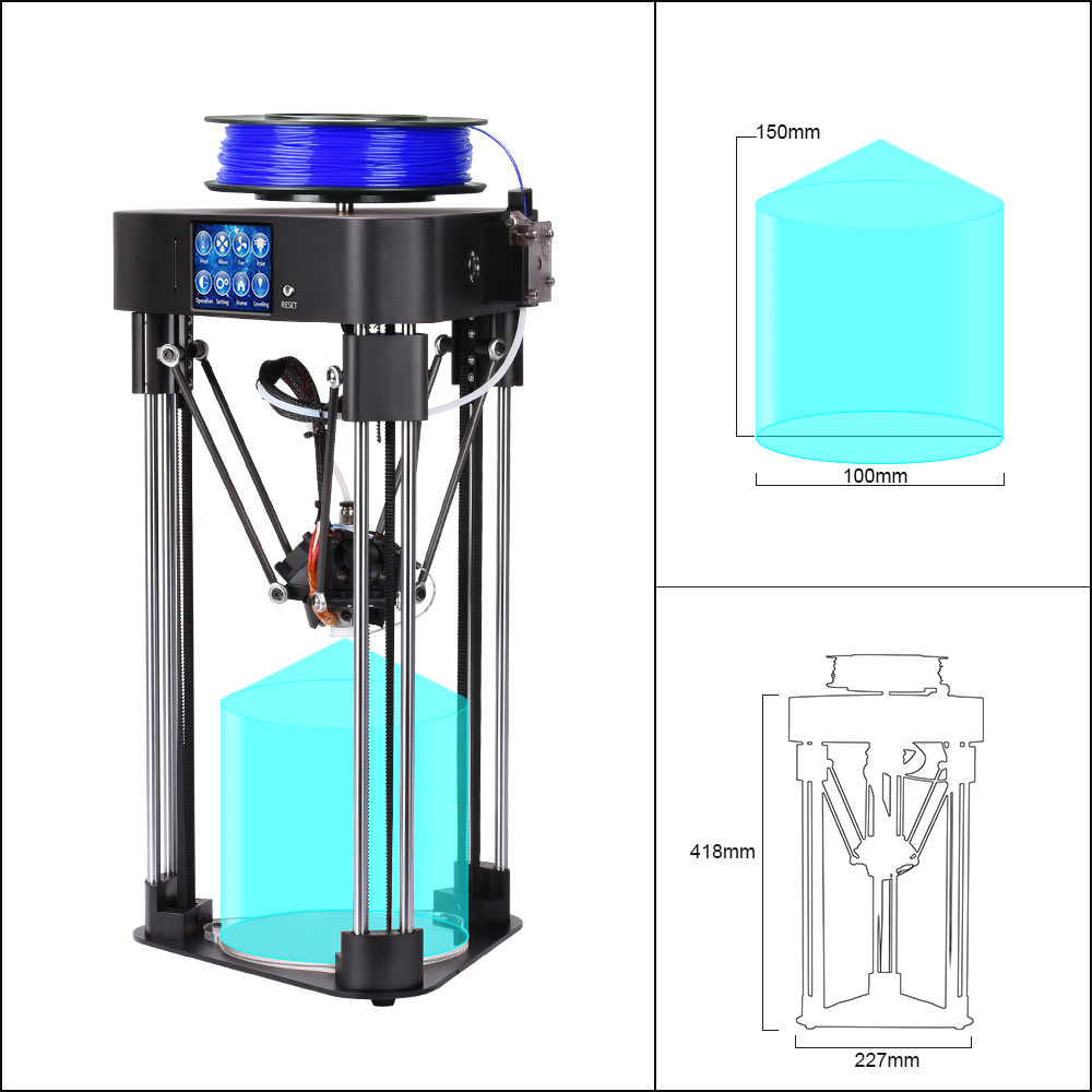 BIQU MAGICIAN Full Assembly 3D Printer Mini Touch Screen Titan Extruder Motherboard Kossel Delta With PLA Filament Desktop Gift double color m6 3d printer 2017 high quality dual extruder full metal printers 3d with free pla filaments 1set gift