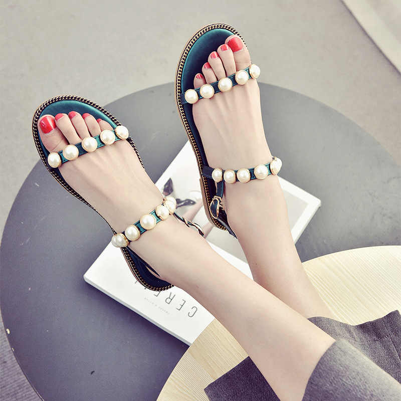 cd3433f206558 Detail Feedback Questions about 2017 Summer Women s Sandals Fashion Pearl Sandal  Peep toe Buckles Flats Flip Flops Female Casual Beach Shoes Woman Sandalias  ...