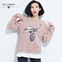 New Women Hoodies Sweatshirts Spring Autumn Clothing Fashion Red Pink Christmas Deer Applique Tops And Funny