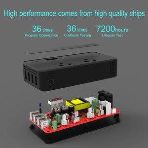 Image 5 - อินเวอร์เตอร์รถ 200W รถออโต้อินเวอร์เตอร์ DC 12V to AC 220V USB 4 พอร์ต + 2 220V ซ็อกเก็ต Charger Splitter รถอุปกรณ์เสริม