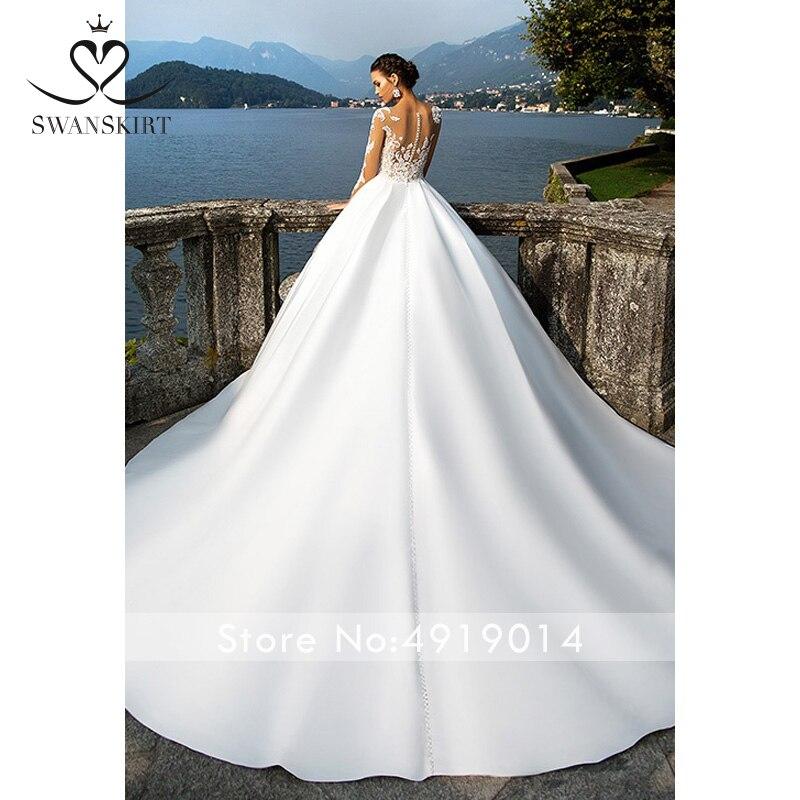 Image 2 - Swanskirt Scoop Satin Wedding Dresses2019 Appliques Long Sleeve A Line Chapel Train Princess Bride Gown Vestido de Noiva I140-in Wedding Dresses from Weddings & Events
