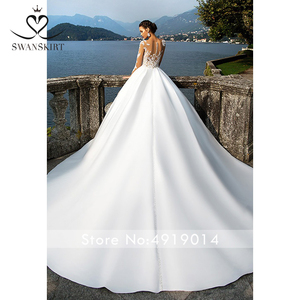 Image 2 - Swanskirt Scoop Satin Wedding Dresses 2020 Appliques Long Sleeve A Line Chapel Train Princess Bride Gown Vestido de Noiva I140