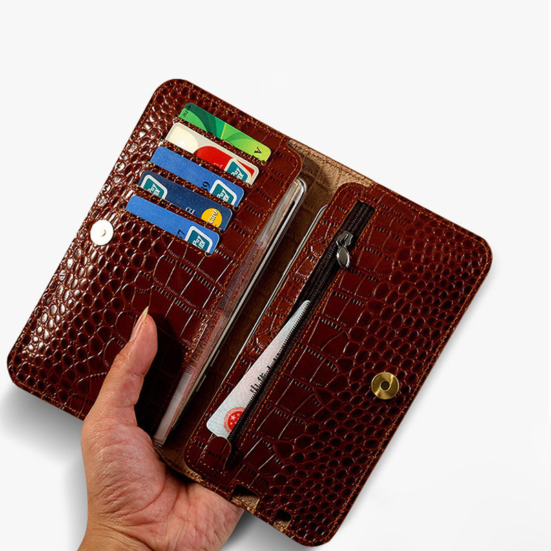 En Cuir véritable étui de téléphone pour xiaomi mi 6 A1 Max 2 Crocodile Texture Flip Double Couverture Pour Rouge mi Note 4 4X 4A 5 5A Pro Plus