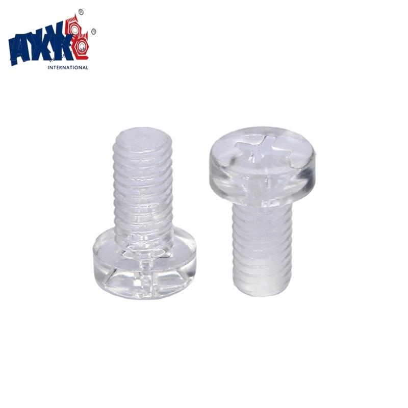 AXK 50Pcs ISO7045 DIN7985 M2 M2.5 M3 M4 M5 Transparent Acrylic Cross Round Head Nylon Screws Plastic Phillips Screw брюки джинсовые pinetti брюки джинсовые
