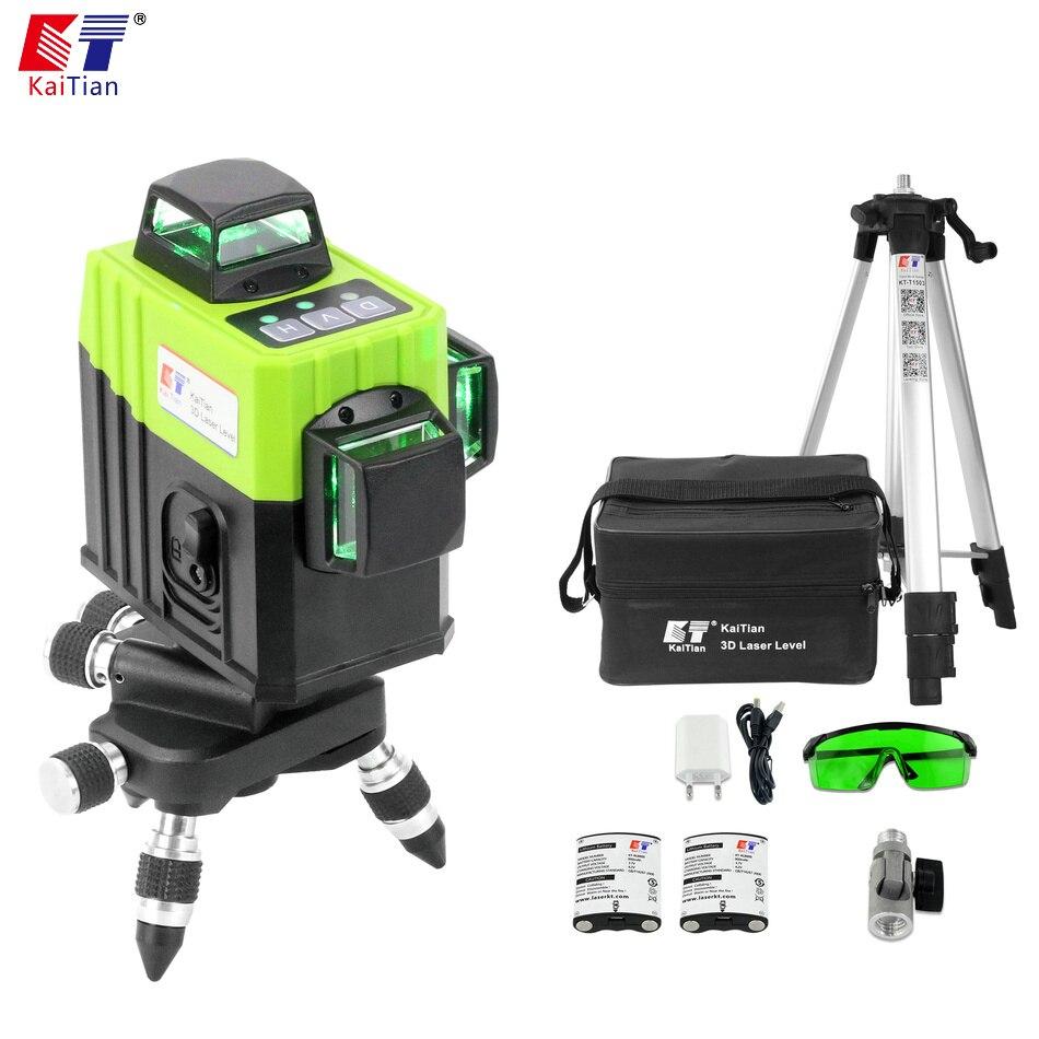 Kaitian 3d лазерный уровень 360 12 линий лазерный уровень зеленый луч 360 роторного кронштейн приемника штатив для лазерного уровня Вертикальные и