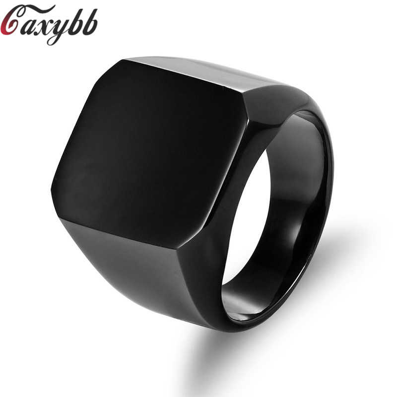 2018 Fashion Eyeball Ring 316L Stainless Steel Mens Women Simple Style Polishing Silver Golden Black Square Ring size 6-15
