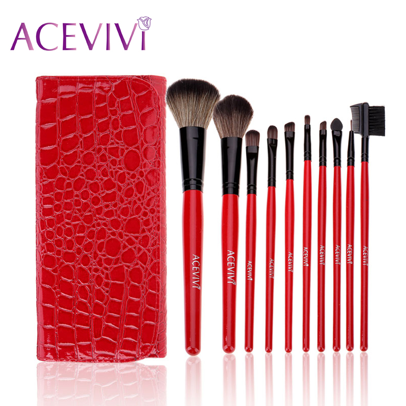 ACEVIVI 10Pcs Professional Full Function Blending Cosmetic Makeup Powder Brushes Set Make Up Tools Kit With Pouch Wholesale 147 pcs portable professional watch repair tool kit set solid hammer spring bar remover watchmaker tools watch adjustment