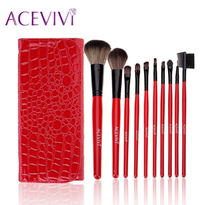 ACEVIVI 10Pcs Professional Full Function Blending Cosmetic Makeup Powder Brushes Set Make Up Tools Kit With Pouch Wholesale acevivi 4pcs sponge