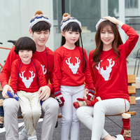 Winter Christmas Deer Family Matching Clothing Mommy Dad And Kids Clothes Women Men Baby Thick Velvet
