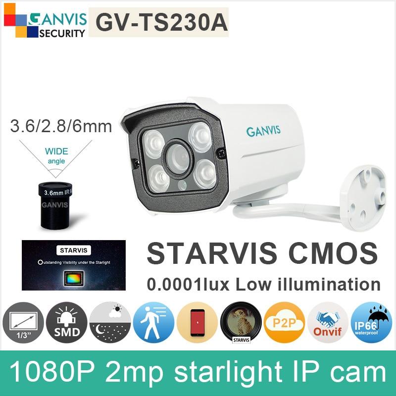 SONY IMX291 1/2.8 CMOS Full HD 1080P IP camera 2mp mini outdoor video surveillance cctv camera starlight onvif GANVIS GV-TS230A