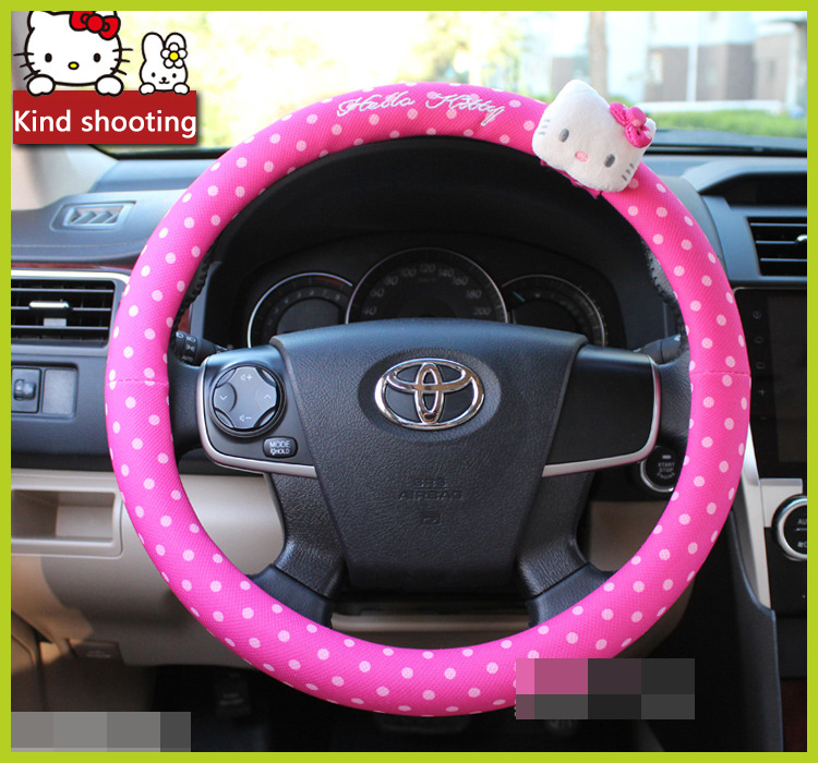 car styling hello kitty car steering wheel cover cartoon cute pink hello kitty profile universal. Black Bedroom Furniture Sets. Home Design Ideas