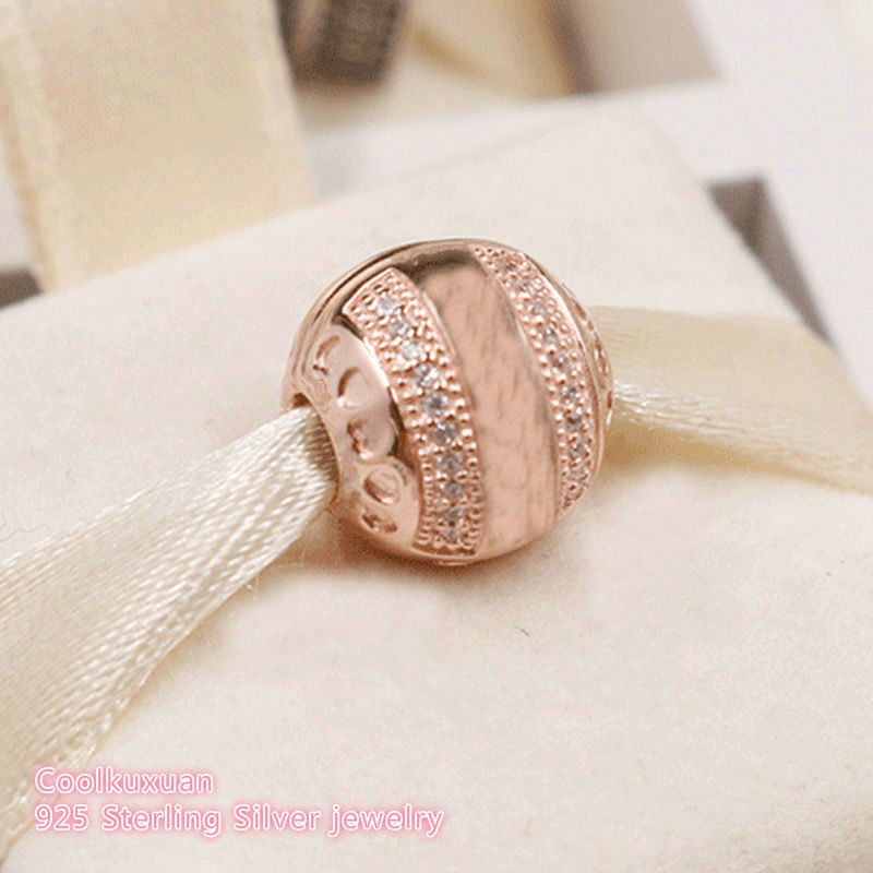 2018 Autumn 925 Sterling Silver Brand Logo Hearts Clip, Rose Gold & Clear CZ Beads Fit Original Pandora Charms Bracelet Jewelry