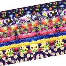 50 yards 16mm Flower Print Fold Over Elastic Hair Tie FOE Elastic Ribbon DIY Hair Accessories Elastic Webbing Wristband Bracelet