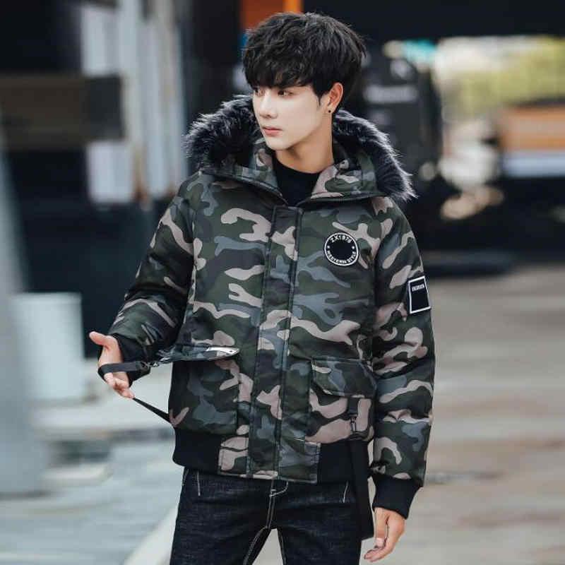 2019 冬のジャケットの男性ストリートスタイリッシュな迷彩厚く男性付きジャケットカジュアルヒップホップリボン男性パーカー上着