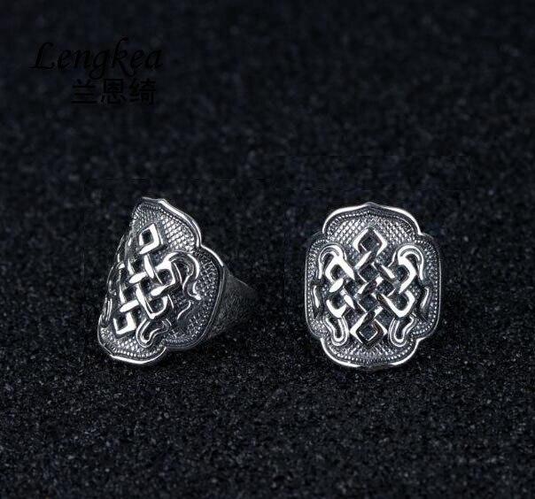 Lengkea jewery 100% Real 925 sterling silver ring Vintage lucky knots ring men ring men jewelry charm trinket boyfriend Gifts