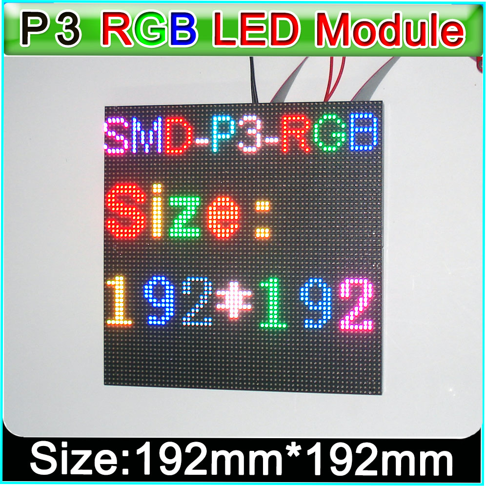 Led Displays P3 Full Color Led Display Module Indoor Smd P3 Rgb Led Panel 192mm*192mm,diy Indoor Hd Video Wall Led Module Optoelectronic Displays