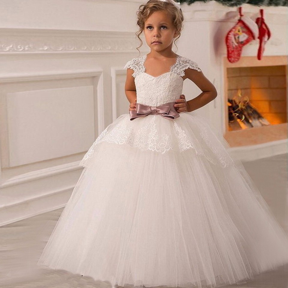 White Ivory 2018   Flower     Girl     Dresses   For Weddings Ball Gown Cap Sleeves Tulle Bow Lace First Communion   Dresses   For Little   Girls