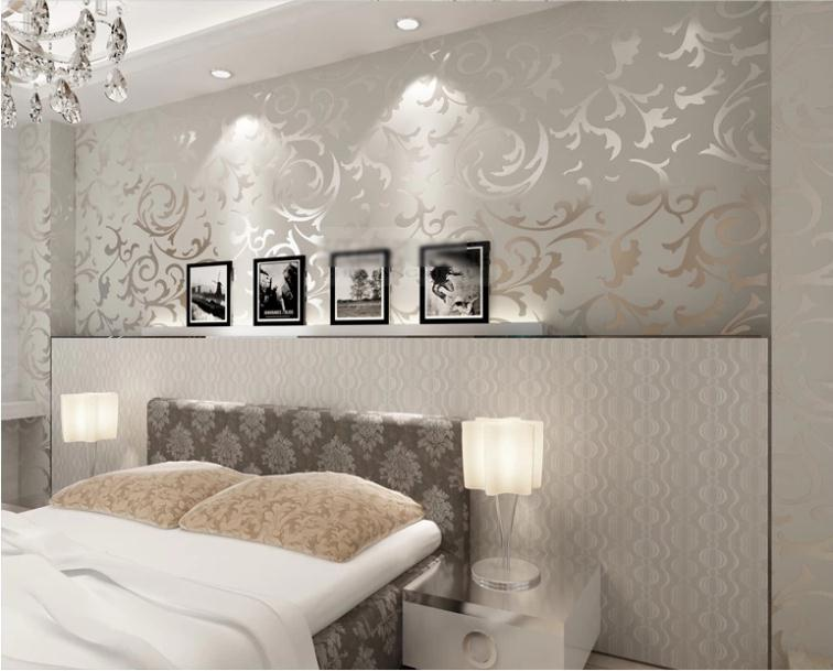 Luxury classic silver grey wallpaper high quality vintage pvc wall - creme graues wohnzimmer
