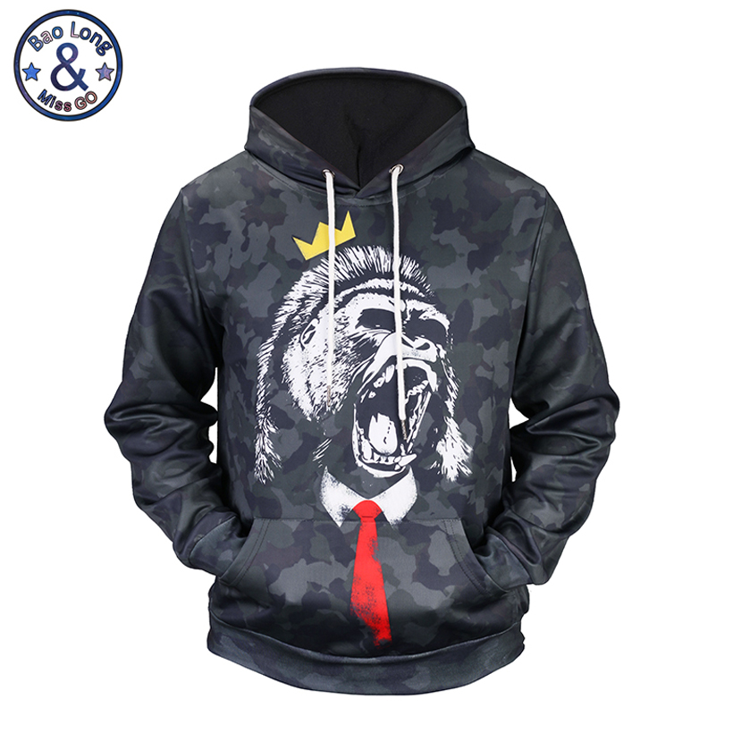 Mr.BaoLong Fashion design Gorilla 3D printed Camouflage hooded hoodies for men New drawstring sweatshirts man H50