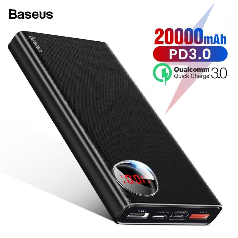 Baseus 20000 mAh Banco de la energía USB C de carga rápida 3,0 20000 Poverbank para Xiaomi mi 9 cargador portátil de batería externa powerbank