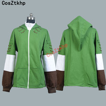 CosZtkhp the legend of zelda cosplay in Men Costumes link Hooded Elf Wizard Hoodie