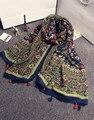 Boho scarf 2016 mulheres outono inverno bohemian estilo Japonês fresco floral impressão cachecol capa xale envoltório cachecol