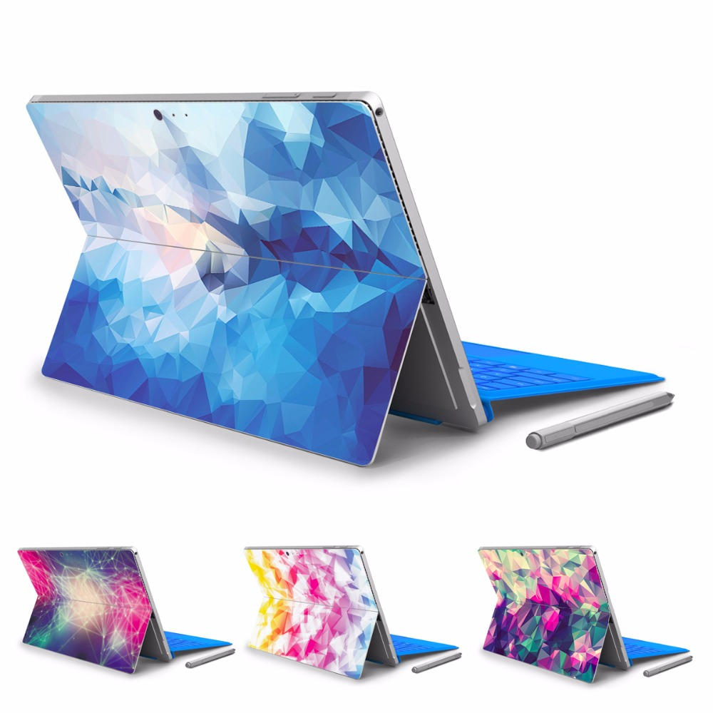 YCSTICKER - For Micro Surface Pro 5 Vinyl Back Full Decal Tablet Sticker Solid Geometry Print Skin Cover With Logo Cut Out&Gift